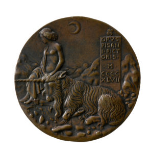 Cecilia Gonzaga having tamed a unicorn on the reverse of her medal by Pisanello. Notice how the artist has signed his work on the panel behind the animal.