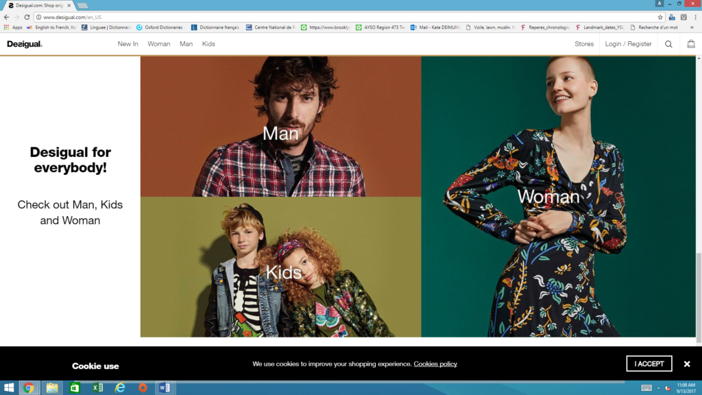 Screenshot of Desigual's English-language home page from fall 2017